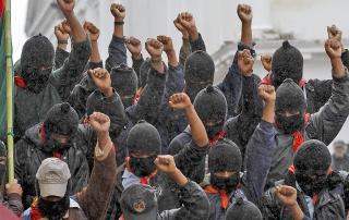 Bases de apoyo del EZLN marcharon en silencio en la ciudad de San Cristobal de las Casas, Chiapas, este 21 de diciembre del 2012. La Jornada//Victor Camacho